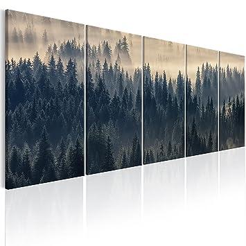 Murando   Bilder Wald Landschaft 225x90 Cm   Vlies Leinwandbild   5 Teilig    Kunstdruck