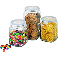Glasslock Glass Canister, 3-Piece Set, Clear, IG-534