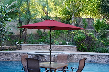 Jeco UBP61-UBF65 Aluminum Patio Market Umbrella Tilt with Crank Fabric Black Pole, 6.5 x 10 , Burgundy