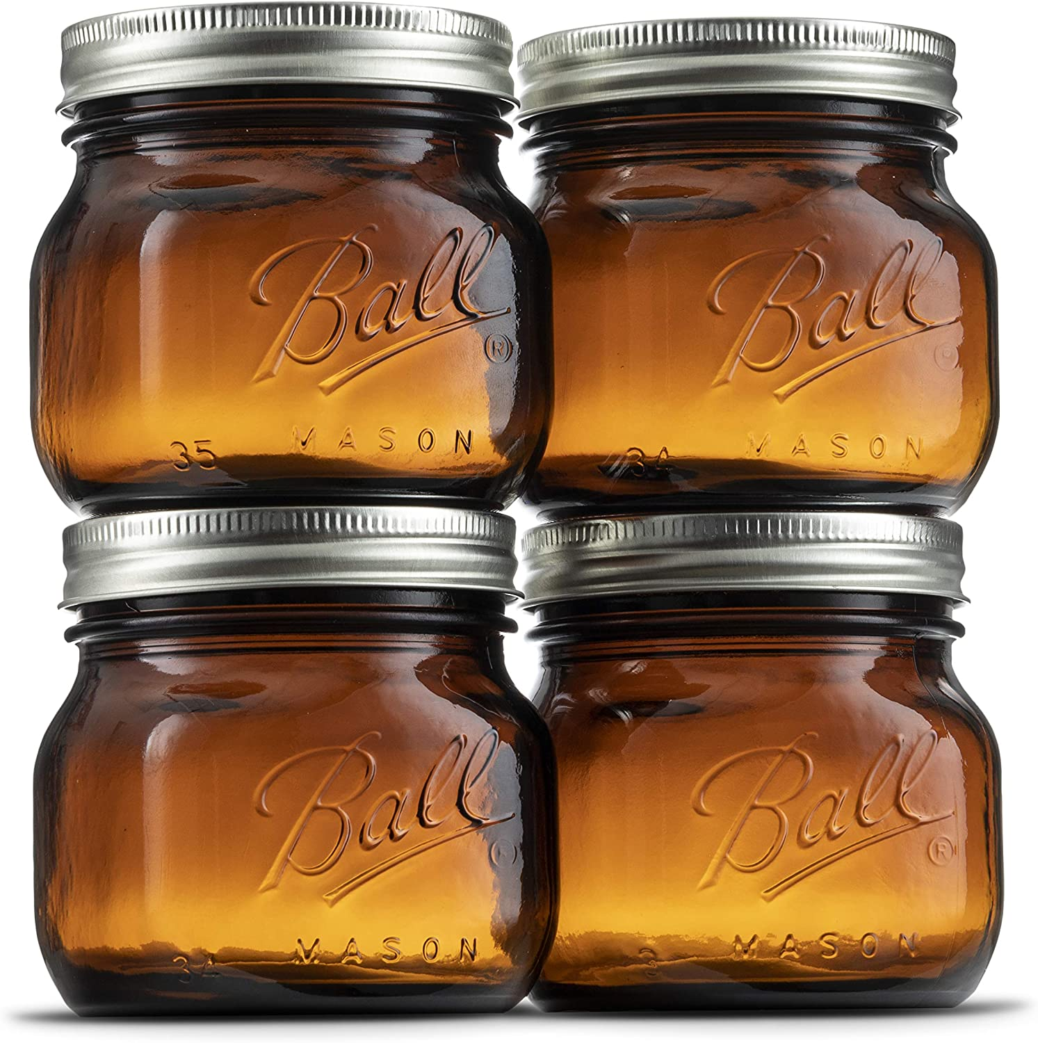 Ball Amber Glass Wide Mouth Mason Jars (16 oz/Pint) With Airtight lids and Bands [4 Pack] Amber Canning Jars - Microwave & Dishwasher Safe. Bundled With SEWANTA Jar Opener