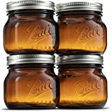 Ball Amber Glass Wide Mouth Mason Jars (16 oz/Pint) With Airtight lids and Bands [4 Pack] Amber Canning Jars - Microwave & Di