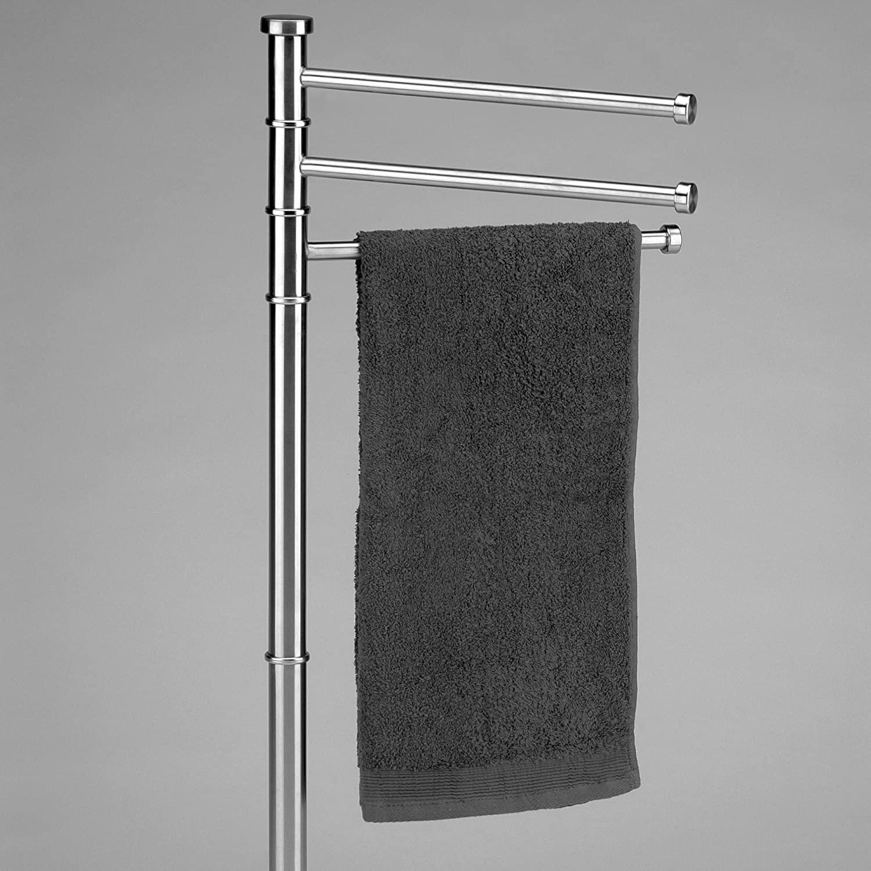 3 Arme Kela 21443 Handtuchhalter 83 cm H/öhe Rostfrei Verchromtes Metall Biago Schwarz//Silber
