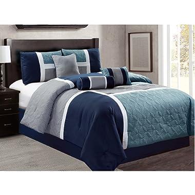 Luxlen 7 Piece Luxury Bed in Bag Comforter Set, Closeout, King, Navy