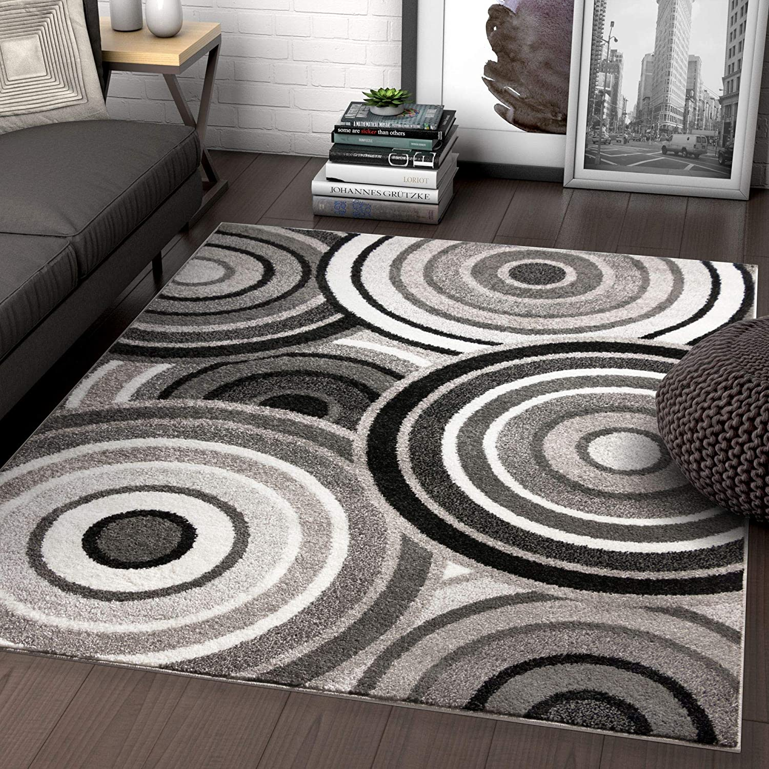Well Woven Carey Abstract Grey Black Modern Geometric Circles 5x7 5 X 7 Area Rug Home Kitchen