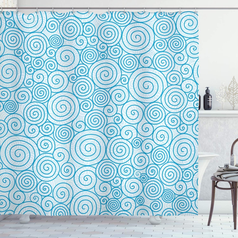 Dunkelgr/ün Hellblau ABAKUHAUS Modern Duschvorhang 175x180 cm Muster mit Ankern mit 12 Ringe Set Wasserdicht Stielvoll Modern Farbfest und Schimmel Resistent