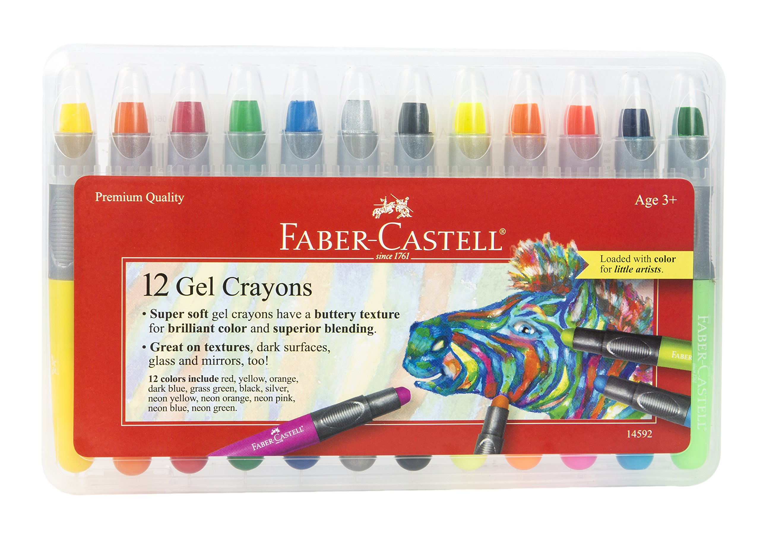 Faber-Castell Gel Crayons - 12 Vibrant Colors In Durable Storage Case by Faber-Castell