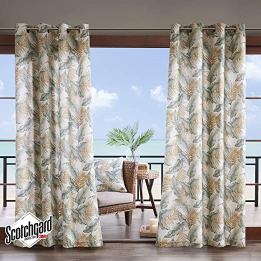 Casual Light Window Curtain for Outdoor Madison Park Green Curtains for Door 1-Panel Pack Everett Botanical Fabric Window Curtains 54X84