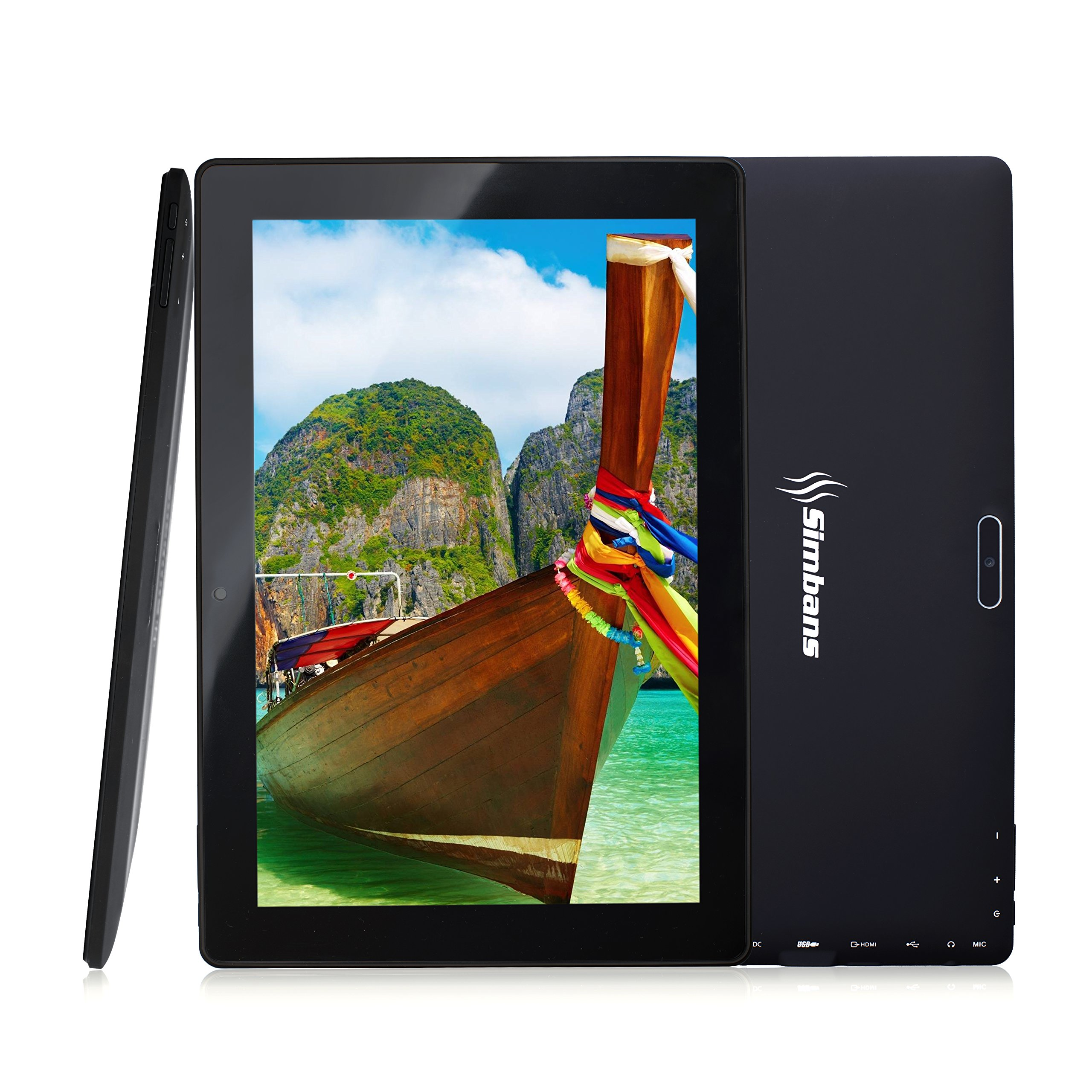 [3 Bonus item] Simbans TangoTab 10 Inch Tablet 2GB RAM + 32GB Disk Android 7.0 Nougat, 10.1 Inch IPS screen, Quad Core, HDMI, 2 + 5 MP Camera, GPS, WiFi, USB, Bluetooth - 2018 Edition PC Computer by Simbans