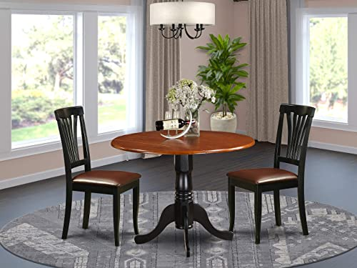 DLAV3-BCH-LC 3 PC Kitchen Table set-Dining Table and 2 Kitchen Chairs