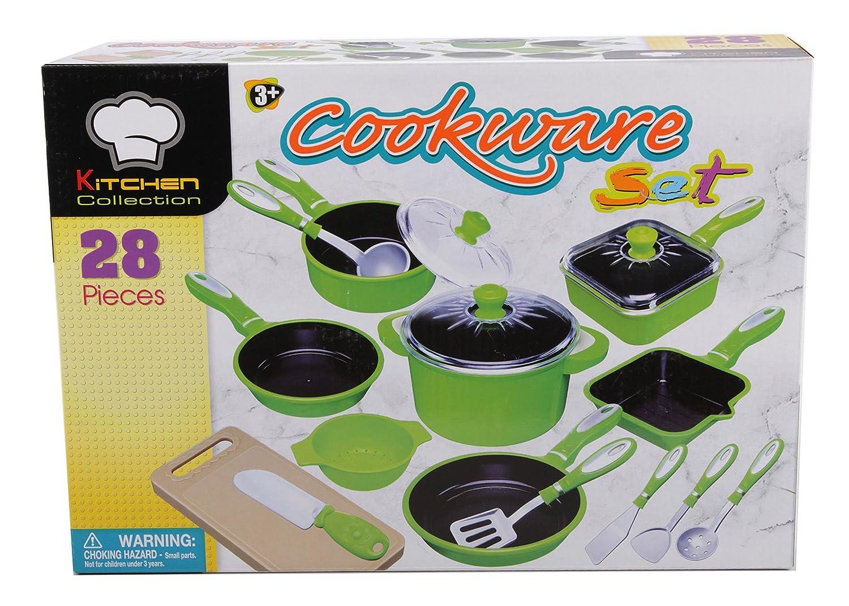 28 tlg Kochtopf Set für Spielküche Töpfe Pfannen Bräter viel Zubehör grün Haberkorn 226247