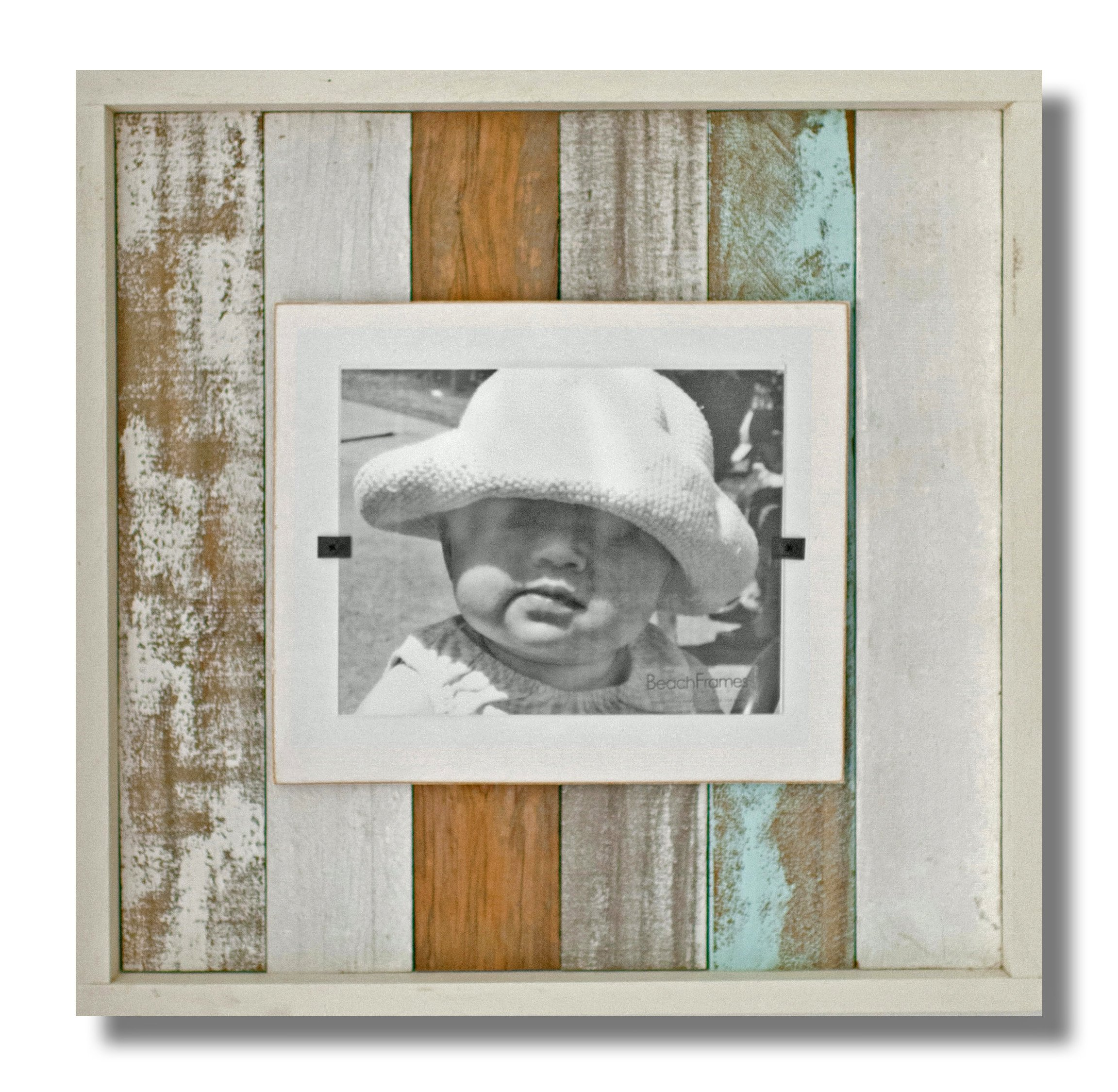 Beach Frames Boxed Reclaimed Wood 8'' x 10'' Picture Holding Frame, X-Large, Sea Mist