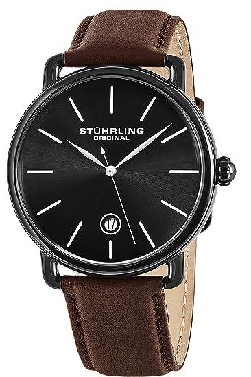 Stuhrling Original Man Agent 768.03 - Reloj de pulsera cuarzo suizo Hombre correa de Piel Marrón