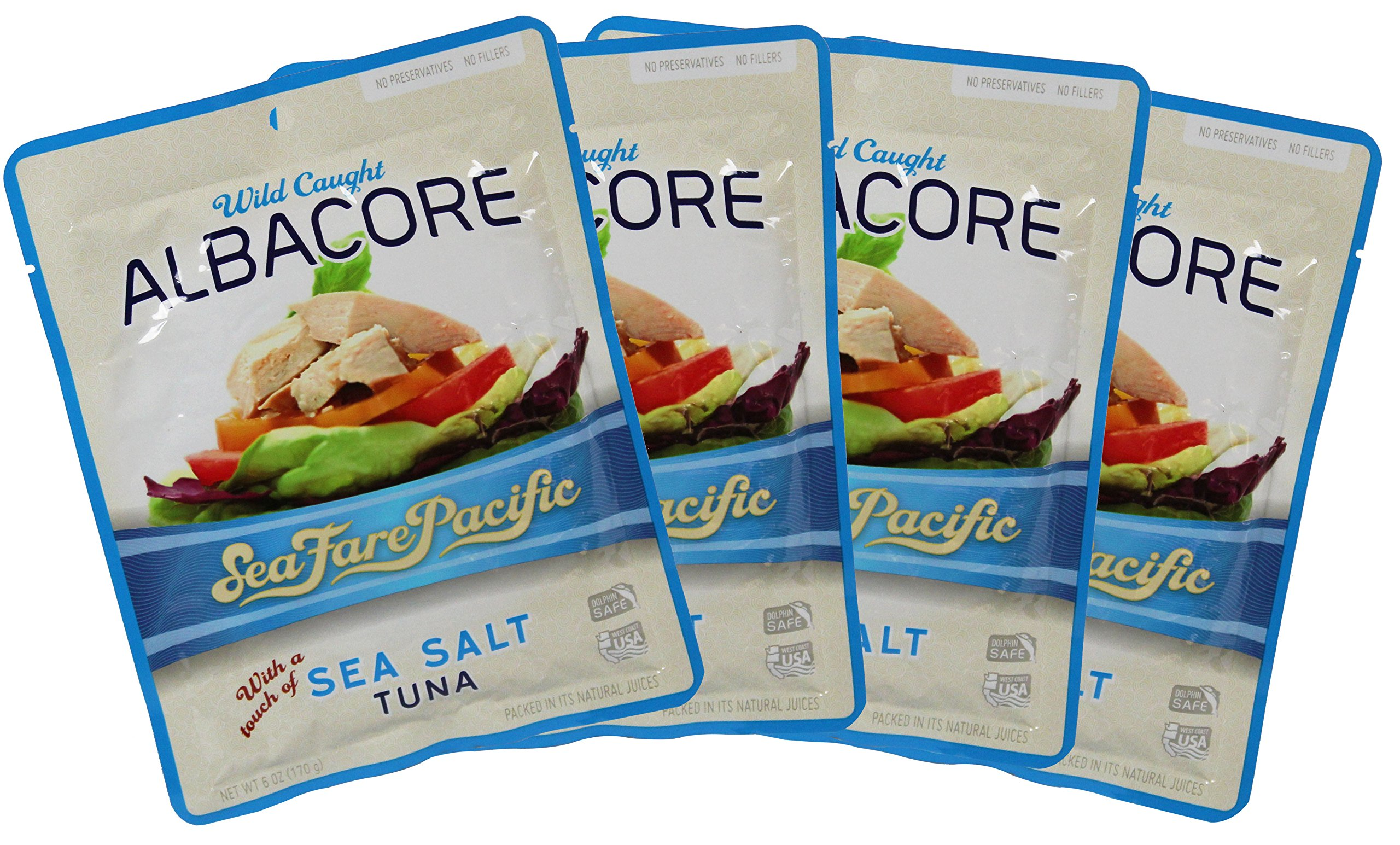 Sea Salt Albacore Tuna – Sea Fare Pacific, 4 Pack, wild caught sustainable, 100% traceable to USA family owned fishing boats, pole & line, once cooked in it's own natural fish oil excellent Omega3's.