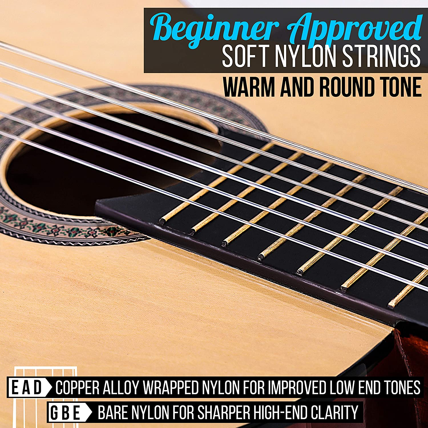 """Pyle 36"""" Classical Acoustic Guitar - Beginner Approved Soft Nylon Strings"""
