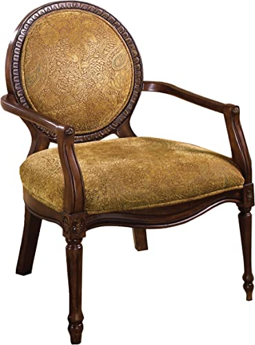Best living room chair: Furniture of America Graham Padded Fabric and Hand-Carved Frame Arm Chair
