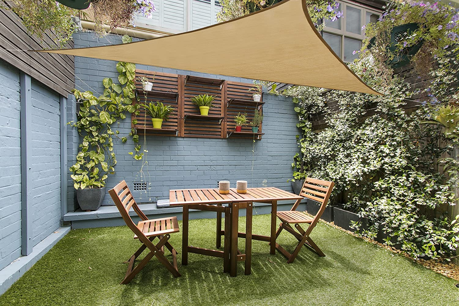 Love Story 12 x 12 x 12 Triangle Sand UV Block Sun Shade Sail Perfect for Outdoor Patio Garden
