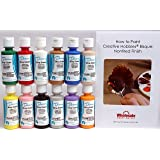 Duncan OSKIT-1 Acrylic Paint Set, 12 Best Selling Colors in 2 Ounce Bottles with Free How To Paint Ceramics Book