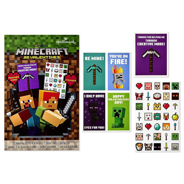 Hallmark Minecraft Valentines Day Cards for Kids (32 Valentine Cards, 35 Stickers, 1 Teacher Card)