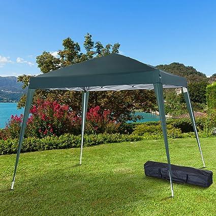 Outsunny Carpa Cenador Plegable para Exterior para Jardín Camping Fiesta Tienda Eventos - Verde Oscuro - Acero y Oxford - 3 x 3m: Amazon.es: Jardín