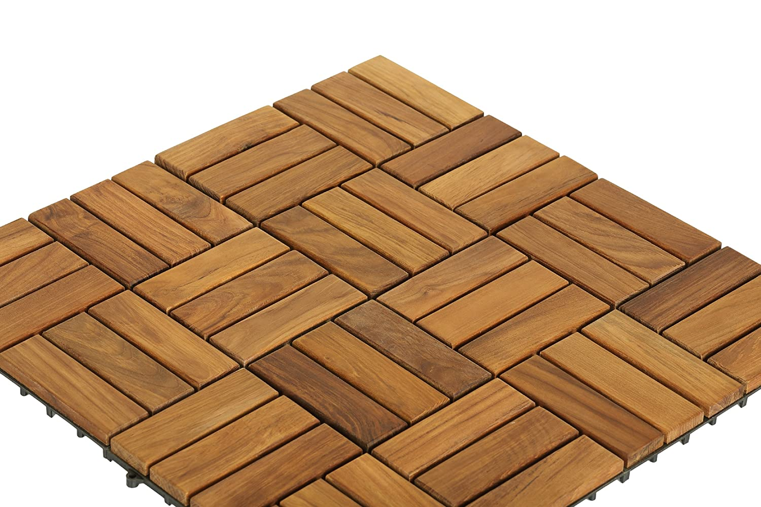 Bare Decor BAREWF2009 Solid Teak Wood Interlocking Flooring Tiles