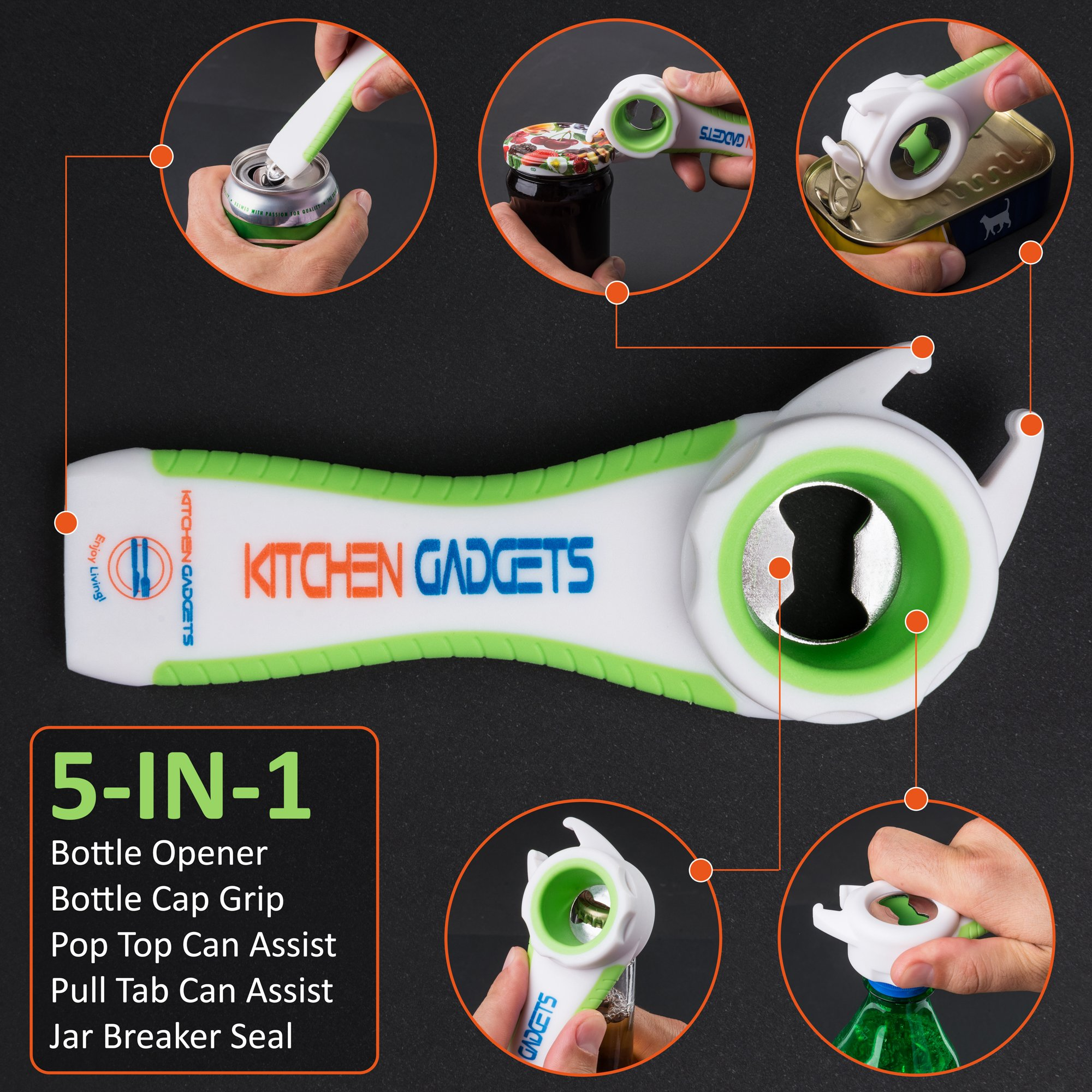 KitchenGadgets Jar Opener for Weak Hands, Water Bottle Openers for Seniors with Arthritis, The #1 All in One Premium Multifunction Jar and Bottle Opener Set for Elderly by KitchenGadgets (Image #4)