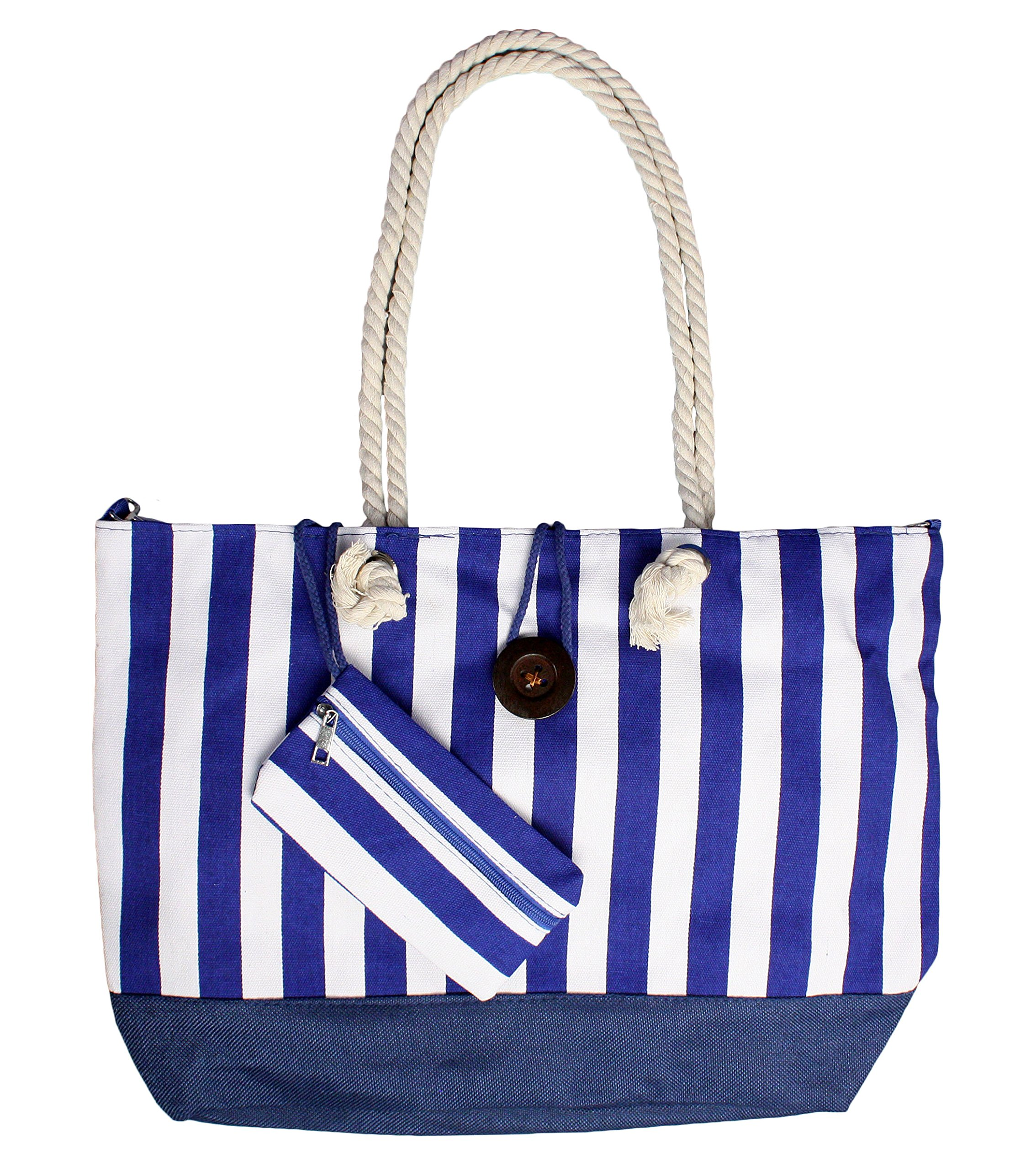 Heavy Duty Canvas Beach Bag Large Tote with Inner Lining - Blue/White