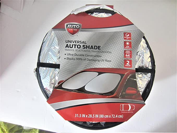 Amazon.com: 2PC Silver/Silver Universal Reversible Auto Springshade Sun Shade - Front Window: Automotive