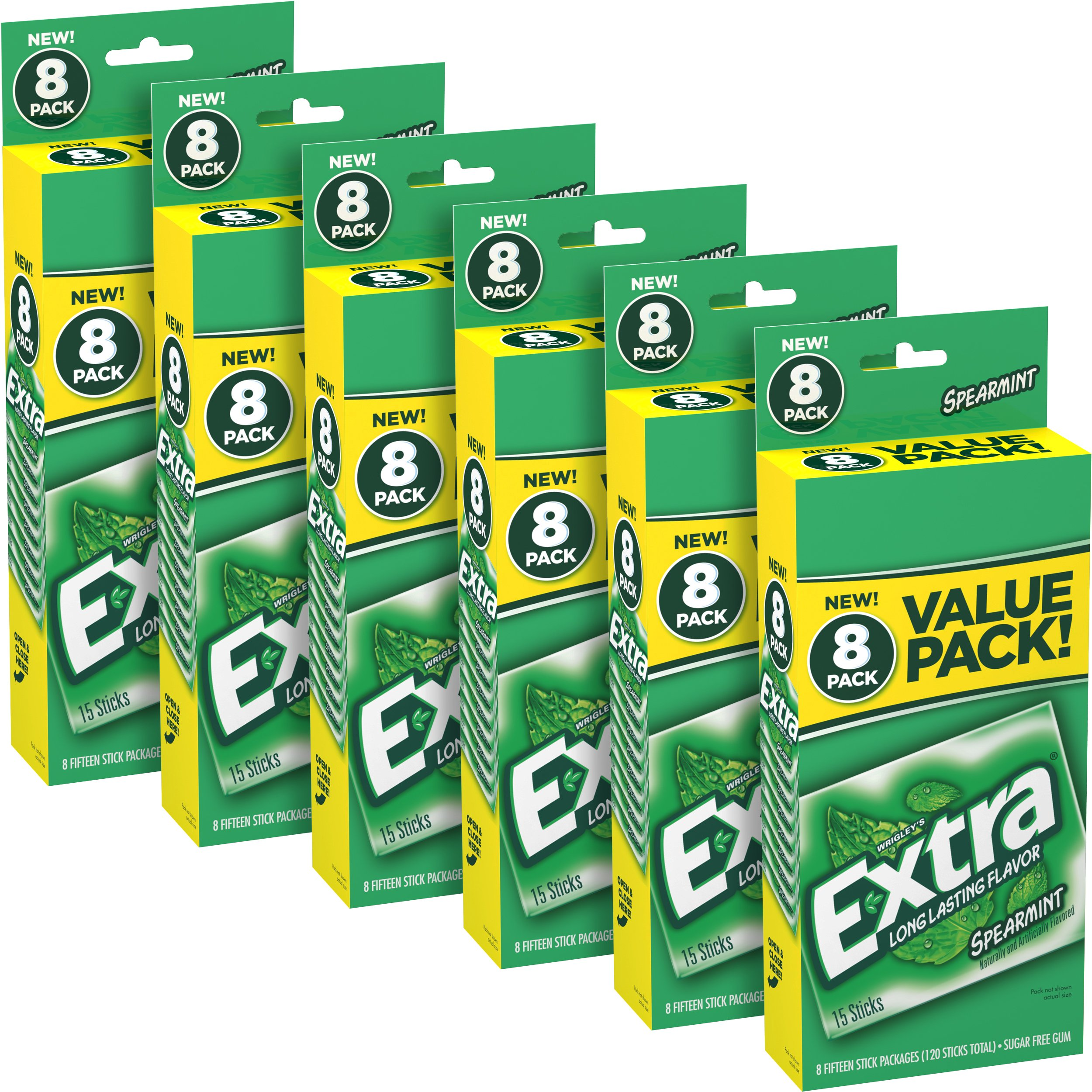 Extra Spearmint Sugarfree Gum, 15 Count, Pack of 48 by Extra