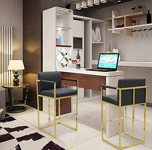 Iconic Home Quest Bar Stool Chair PU Leather Upholstered Square Arm Design Architectural Goldtone Solid Metal Base Modern Contemporary