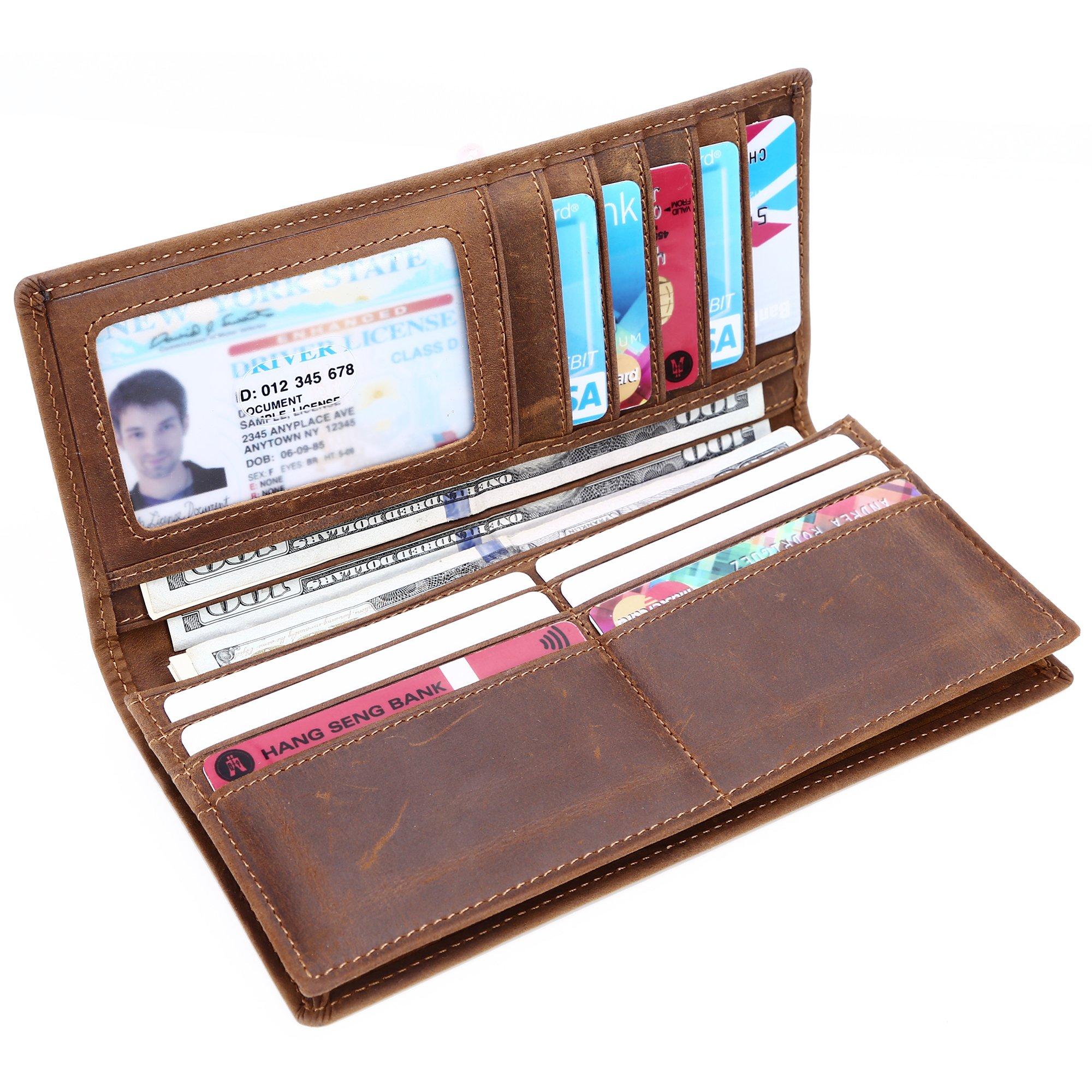 Kinzd Long Wallet Credit Card Holder ID Window Capacity Business Wallet
