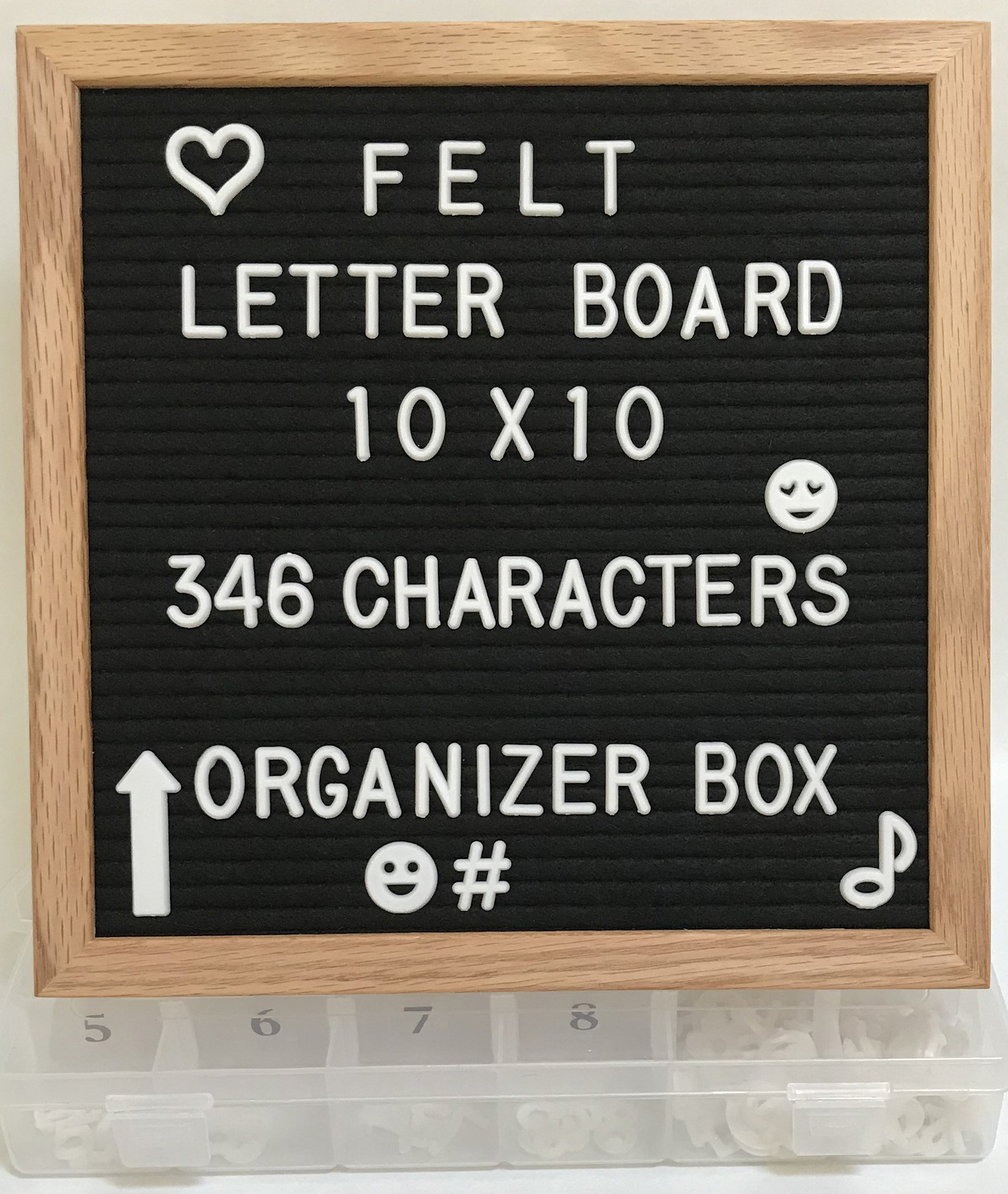 Felt Letter Board Set - Black - 10x10 Oak Wood Frame - Includes 346 3/4 inch White Letters with Organizer - Changeable Messages Great for Kids or Business