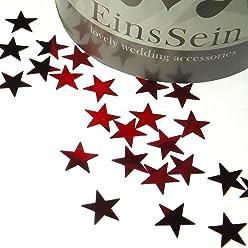 EinsSein 14g Streudeko Konfetti Hochzeit Stern klein rot metallisch Tischdeko Party Weihnachten
