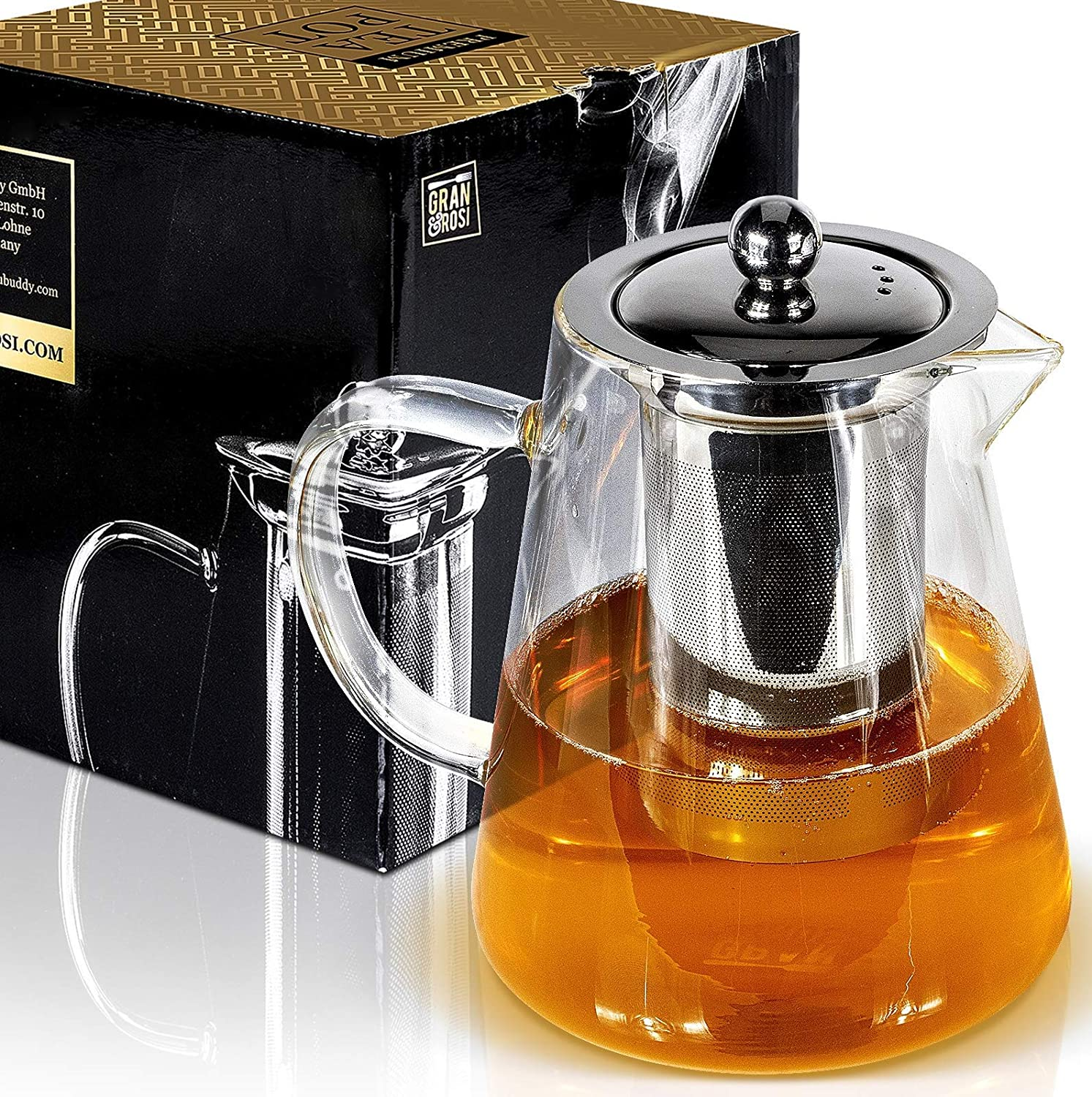 Stunning Glass Tea Pot with Warmer - 3-4 Cup Stainless Steel Tea Infuser with Lid - Stovetop Safe, Heat Resistant Teapot Set with Cover Keeps Tea Hot for Perfect Cup Granrosi