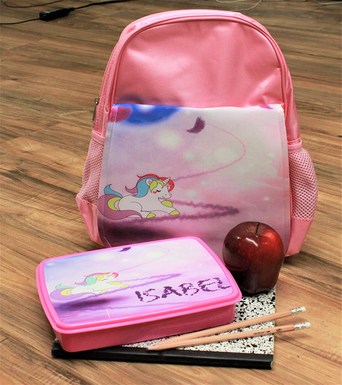Happy Chihuahua Girls Pink Preschool Toddler Childrens Backpack /& Lunch Box Set