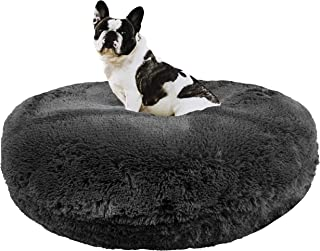 product image for BESSIE AND BARNIE Signature Wolfhound Grey Luxury Shag Extra Plush Faux Fur Bagel Pet/Dog Bed (Multiple Sizes)
