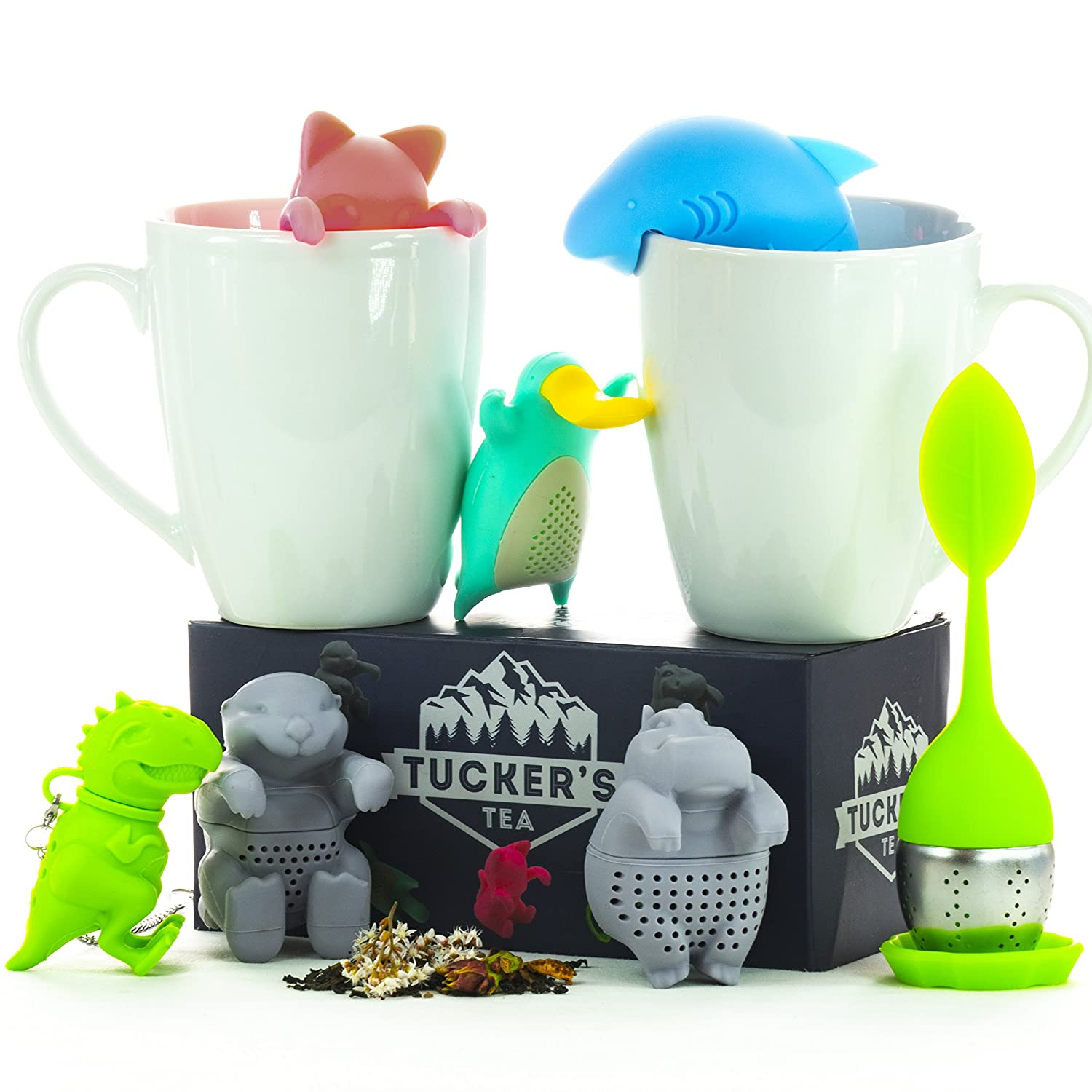Tuckers Tea infuser set of 7-cute diffuser animals silicone steeper strainer with gift box Tuckers Brand