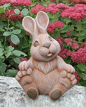 Steinfigur Hase Groß Sitzend Terrakotta Figur Deko Garten