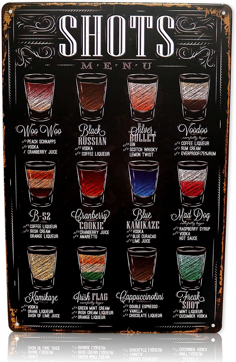 Save Directly Vintage Bar Decor Alcohol Shots Menu Sign College Apartment Decor Metal Tin Signs for Bar Size: 12x8 Inches