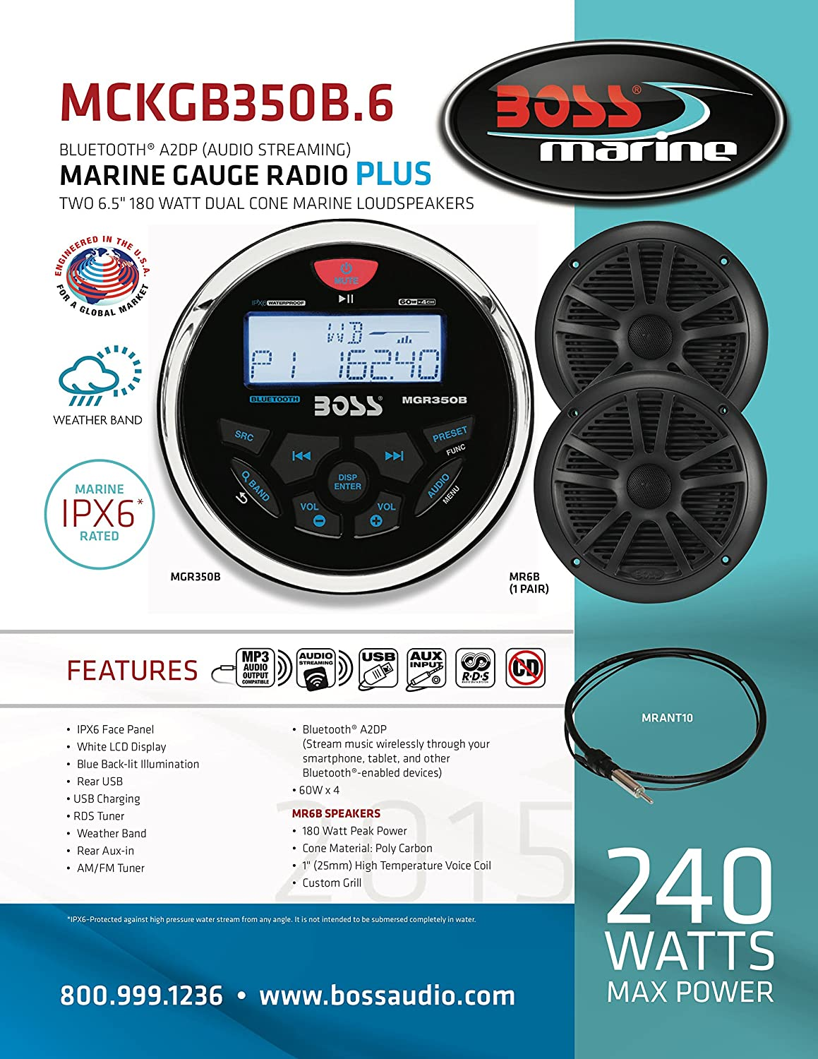Boss Audio Mckgb350b6 Receiver Speaker Package Marine Radio Speakers Wiring Bluetooth Mp3 Usb Am Fm Stereo No Cd Dvd Two 65 Inch Antenna