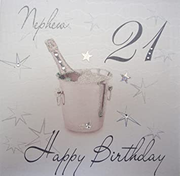 White Cotton Cards Wbs21 N Champagne Bucket Nephew 21 Happy