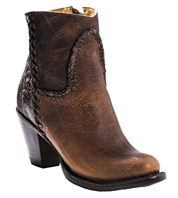 Women's Regina Distressed Leather Booties Western Dress Heeled Cowboy Ankle Boots In Cognac