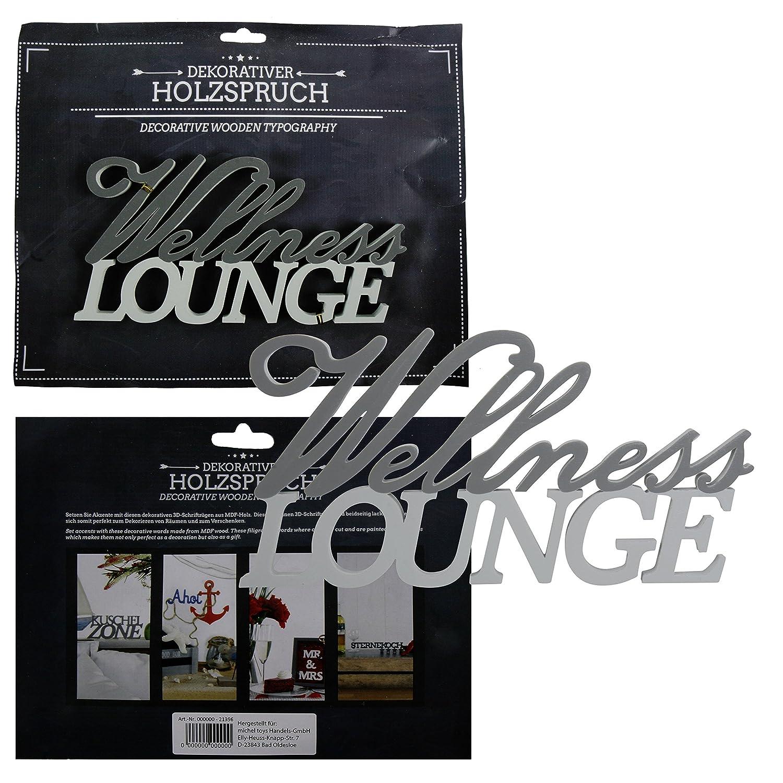 Schriftzug  Wellness-Lounge  Wandbild Wanddeko Deko zum Hängen Holzschschrift MT