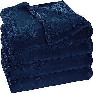 Utopia Bedding Fleece Blanket Queen Size Navy Luxury Bed Blanket Lightweight Fuzzy Soft Blanket Microfiber
