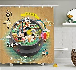 Ambesonne Korea Shower Curtain, Traditional South Korean Motifs Inside a Khimchi Hot Pot Tourist Attractions Cartoon, Cloth Fabric Bathroom Decor Set Hooks, 70 inches, Multicolor