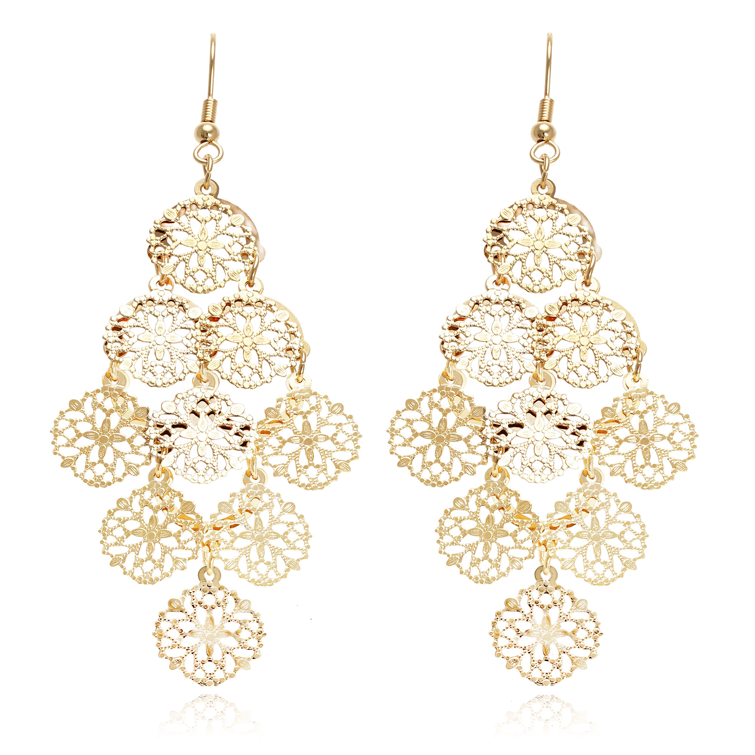 Boho Filigree Flower Motif Rhombus Shape Chandelier Tiered Dangle Statement Earrings