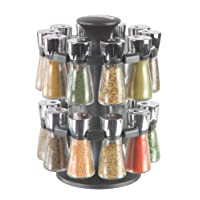 Cole&Mason Hudson 20-Jar Filled Herb and Spice Carousel/Rack Plastic and Glass - Black