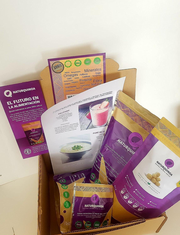 Naturquinoa –Pack 2 bolsas de quinoa + 1 cereal snack de regalo - Quinoa instantánea Premium 100% natural en polvo. Quinoa sin gluten con vitaminas, aminoácidos y antioxidantes: Amazon.es: Alimentación y bebidas