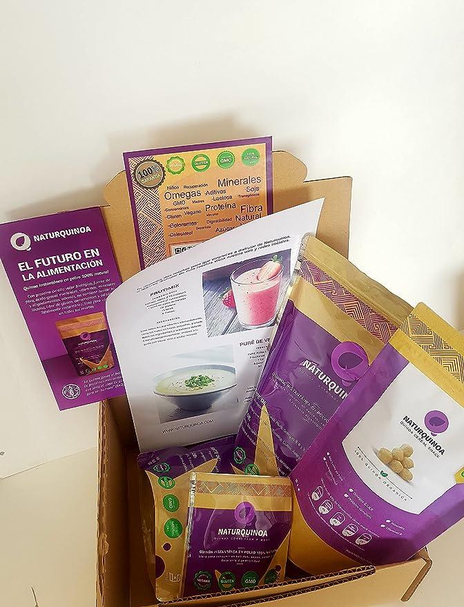 Naturquinoa –Pack 2 bolsas de quinoa + 1 cereal snack de regalo - Quinoa instantánea Premium 100% natural en polvo. Quinoa sin gluten con vitaminas, ...