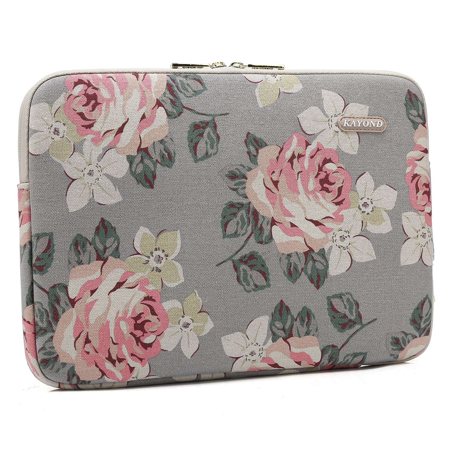 13-13.3 Inch, Gray Rose KAYOND Gray Rose Pattern Water-resistant 12.5 inch 13 inch Canvas laptop sleeve with pocket for 13.3 inch laptop case macbook air pro 13 sleeve ipad 12.9