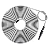 Strong 304 Stainless Steel Metal Garden Hose with Nozzle 50ft Flexible, Portable & Lightweight - Kink, Tangle & Puncture Resistant High Water Flow Spray for Watering Lawn, Yard, Car Wash by Beaulife